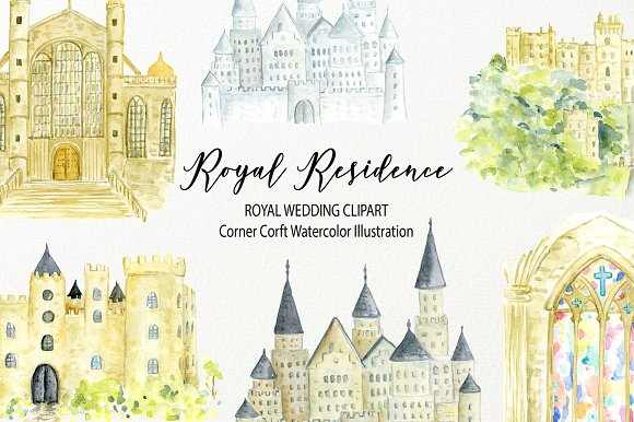 Watercolor Royal Residence Clipart