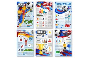 Soccer sport game infographic with football match