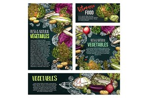 Fresh vegetable and mushroom chalkboard banner