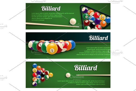Billiards Sport Banner For Snooker And Pool Design