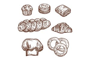 Sweet bread bun sketch of bakery, pastry product
