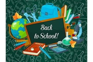Back to School vector chalkboard pattern poster