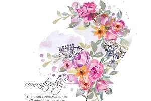 Watercolor Roses Clip Art Set