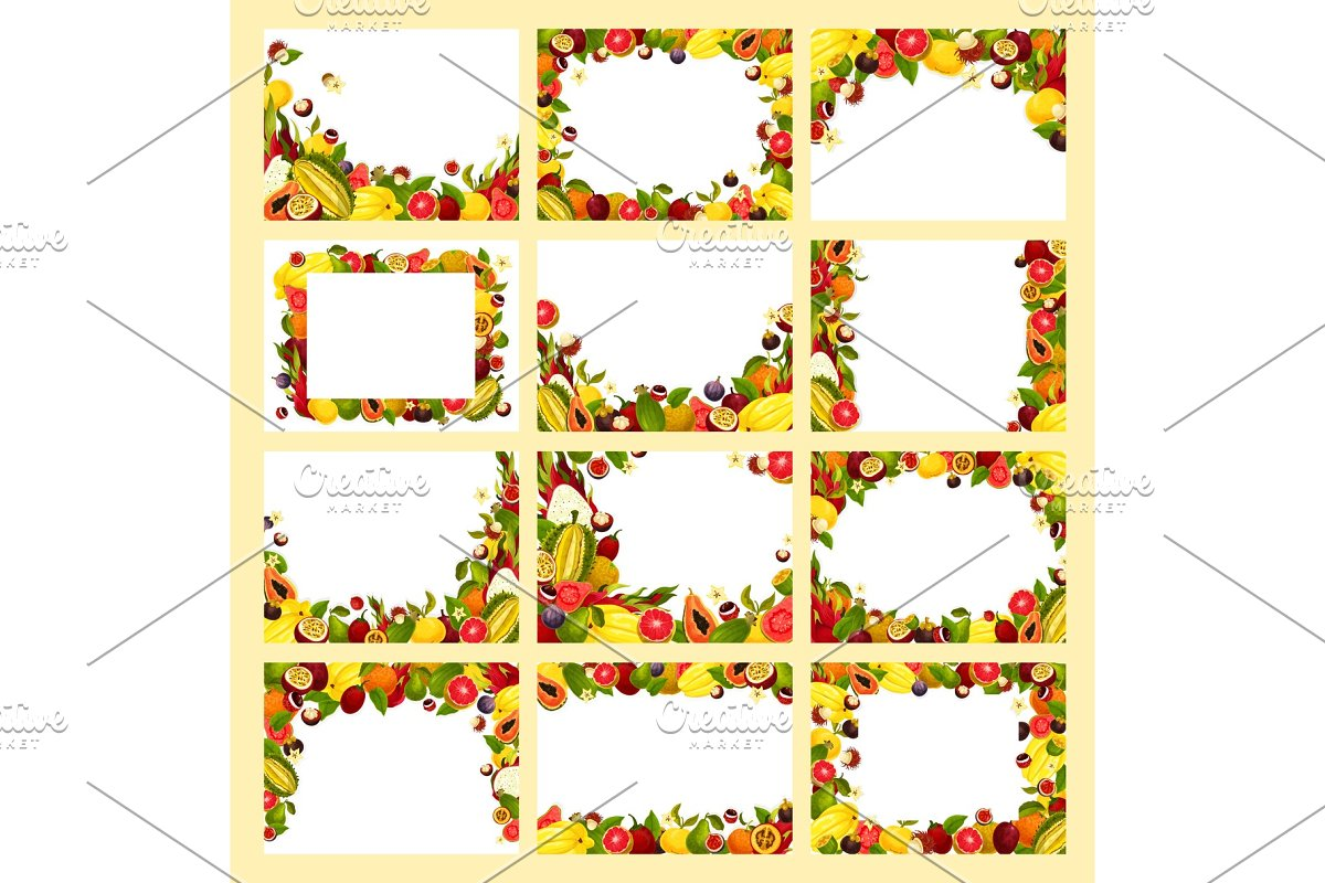 Fruit frame with fresh exotic and tropical berry
