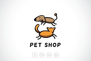 Dog and Cat Veterinary Logo Template