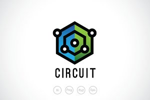 Hexagon Circuit Logo Template