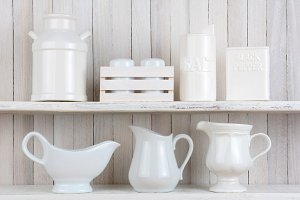 White Rustic Kitchen Shelves