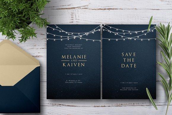 String Light Wedding Invitation Set