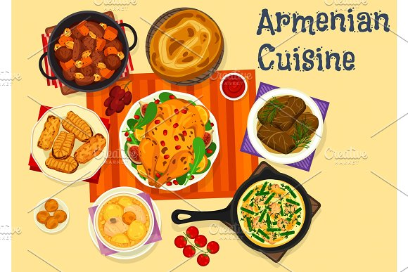 Armenian cuisine icon of meat dinner with dessert