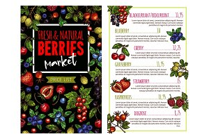 Berry and fruit banner for price list template