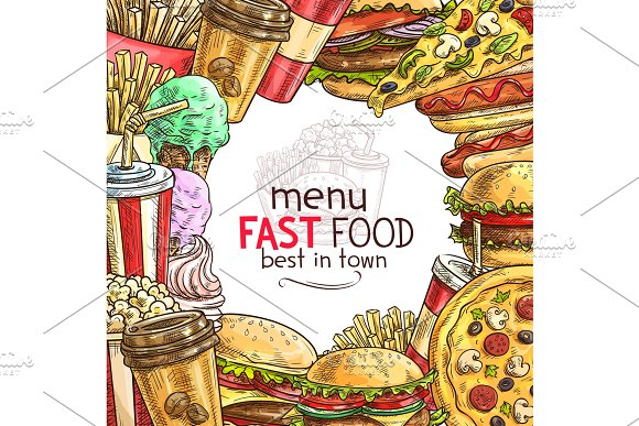 Fast food lunch dish frame for restaurant menu in Illustrations