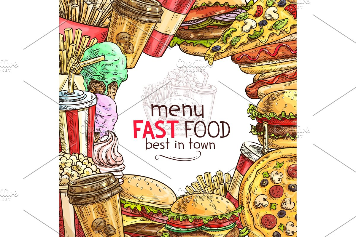 Fast food lunch dish frame for restaurant menu in Illustrations - product preview 8