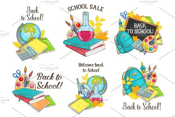 Back To School Vector Sketch Stationery Icons
