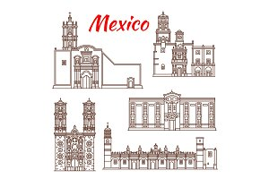 Mexican travel landmark icon for tourism design