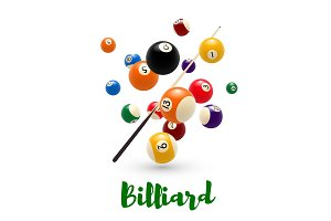 Billiard pool ball, cue poster for snooker design