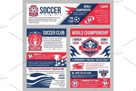 Soccer Match Banner With Football Sport Club Badge