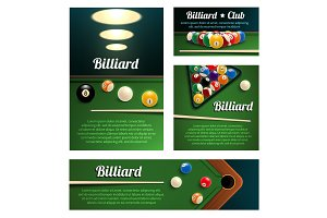 Billiard sport club and poolroom banner template