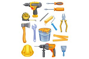 Repair tool and equipment watercolor icon design