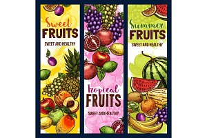 Fruit and berry banner of tropical or garden plant