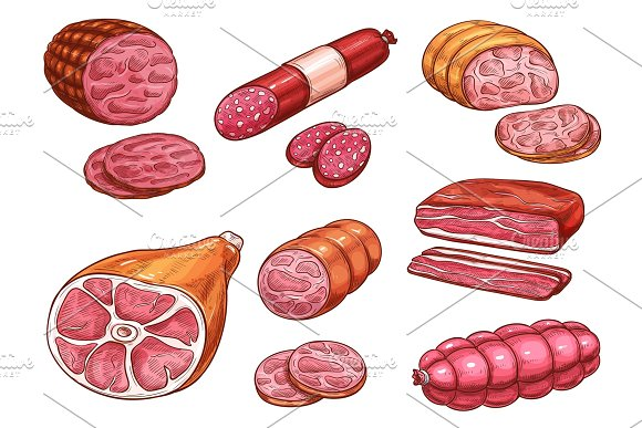 Sausage Sketch Of Beef And Pork Meat Product