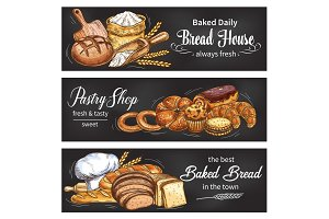 Bread and bun banner for bakery shop template