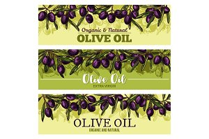 Olive oil banner with border of black fruit, leaf