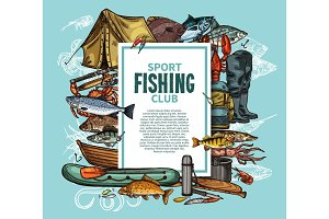 Fishing poster with fish catch and fisherman tool