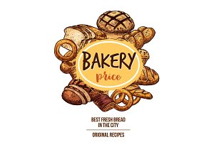 Bakery shop banner with bread and pastry product