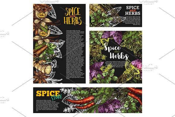 Spice And Herb Food Seasoning Blackboard Banner