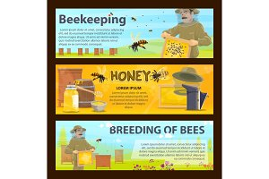 Honey bee breeding and beekeeping farm banner