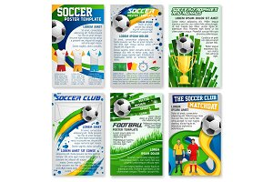 Football or soccer game banner, sport club design