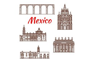 Mexican architecture travel landmark linear icon