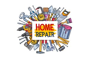 Home repair tool poster for conctruction design
