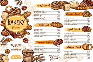 Bakery menu template of bread for cafe and pastry