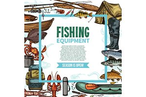 Fishing equipment sketch poster with fish catch