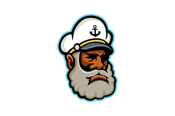 Black Sea Captain Or Skipper Mascot
