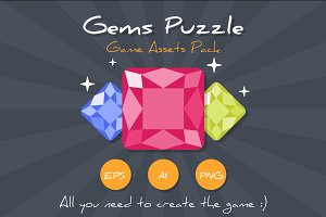 Match3 Gems Puzzle Game Assets Pack