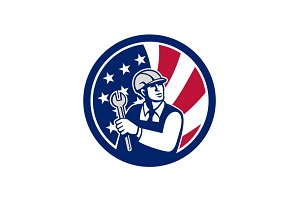 American Engineer USA Flag Icon