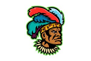 Zulu Warrior Head Mascot