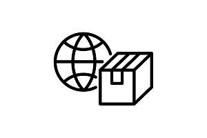 icon. World shipping, Globe and box