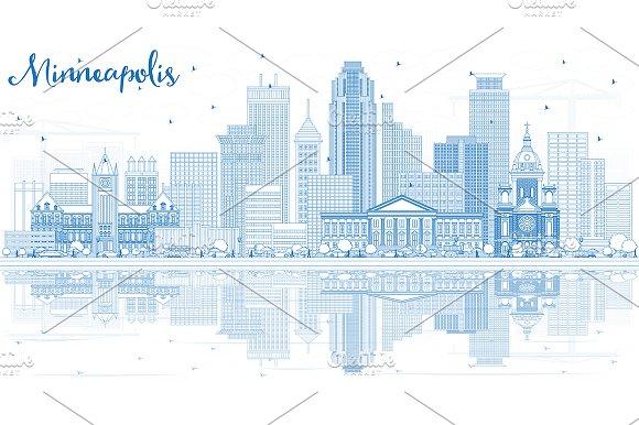Outline Minneapolis USA Skyline