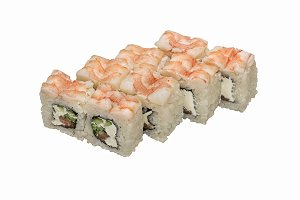Rolls- sushi with shrimp top.