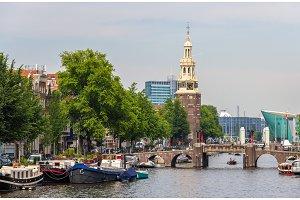 Canal Oudeschans in Amsterdam, Netherlands