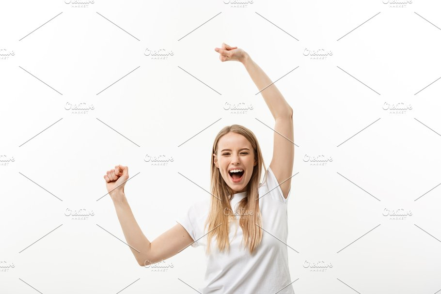 beautiful happy woman at celebration birthday or new year eve celebrating concept isolated over
