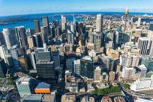 Aerial cityscape of Sydney CBD