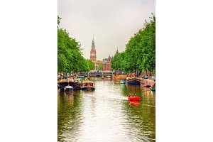 Canal in Amsterdam, Netherlands