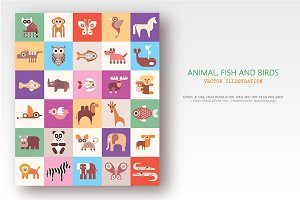 Animals, Fish and Birds