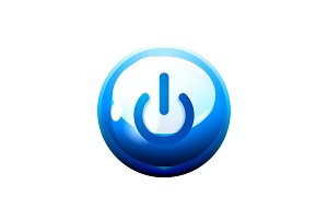 Power button blue icon, start symbol