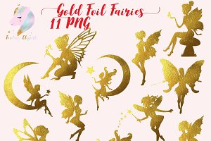 Gold Foil Fairy Silhouette Clipart