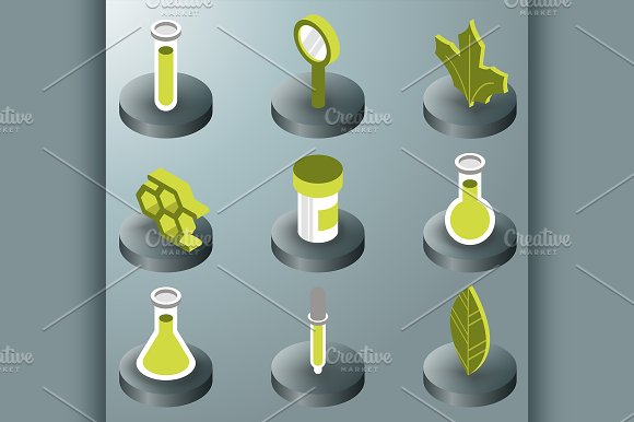 Biology Color Isometric Icons